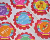 12 Cupcake Toppers - 1st Birthday Party - Fiesta - Girls and Boys Birthday Party Decorations