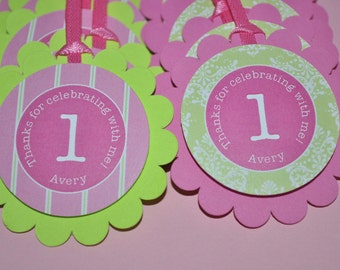 Girls Birthday Favor Tags, Party Favors, Birthday Thank You Tags, Girls 1st Birthday Decorations, Pink and Green - Set of 12