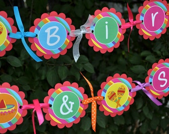 Fiesta Birthday Banner, 1st Birthday Banner, Fiesta Party Banner, Birthday Party Decorations, Cinco De Mayo Banner, Happy Birthday Banner