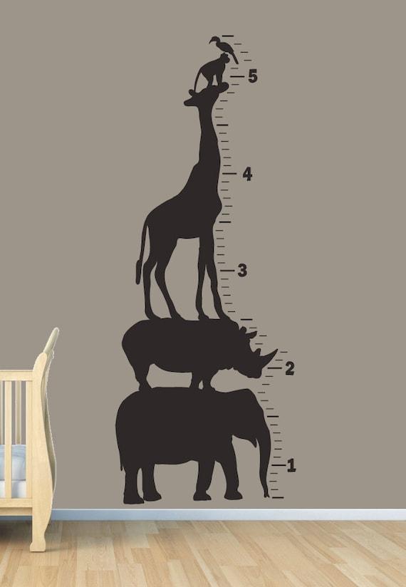 Items Similar To Safari Animal Growth Chart Wall Art