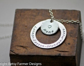 Nana Necklace - Grandma Necklace with Grandkids Names - Personalized Necklace - Sterling Silver - Mother's Day Gift by Betsy Farmer Designs