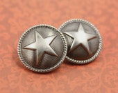 Metal Buttons - Star Metal Buttons , Nickel Silver Color , Domed , Shank , 0.75 inch , 10 pcs