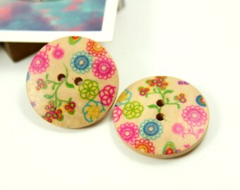 Wooden Buttons - Colorful Cartoon Style Various Flowers picture Wood Buttons, 0.71 inch (10 in a set)