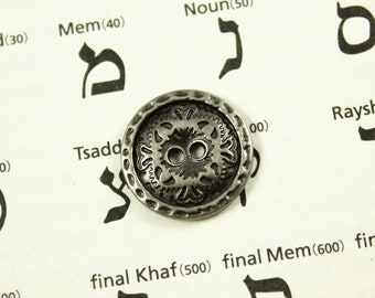 Metal Buttons - Flower Engraving Metal Buttons , Nickel Silver Color , 2 Holes , 0.67 inch , 10 pcs