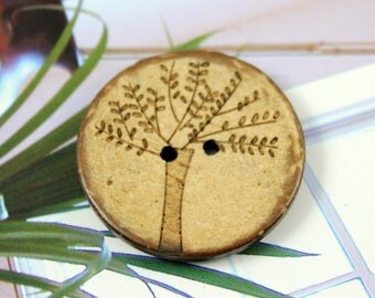 Wood Buttons - Antiqued Coconut Carving Big Tree Pattern Buttons, 1.18 inch. 10 in a set