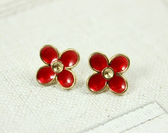 Metal Buttons - Red Enamel Flower Metal Buttons , Gold Color , Shank , 0.47 inch , 14 pcs
