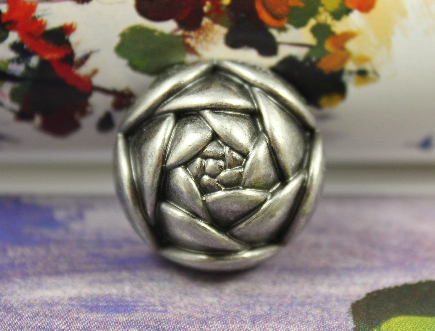 Metal Buttons Rose Bud Nickel Silver