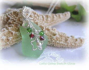Seaglass Christmas Pendant Beach Glass Holiday Necklace