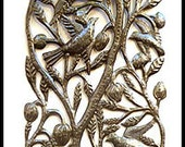 "Birds & Leaves Haitian Metal Wall Hanging - Haitian Steel Drum Metal Art - Haitian Wall Art - Metal Sculpture 72"" - 1680-72"