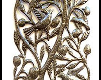 "Birds & Leaves Haitian Metal Wall Hanging - Haitian Steel Drum Metal Art - Haitian Wall Art - Metal Sculpture 72"" - 1680-72"