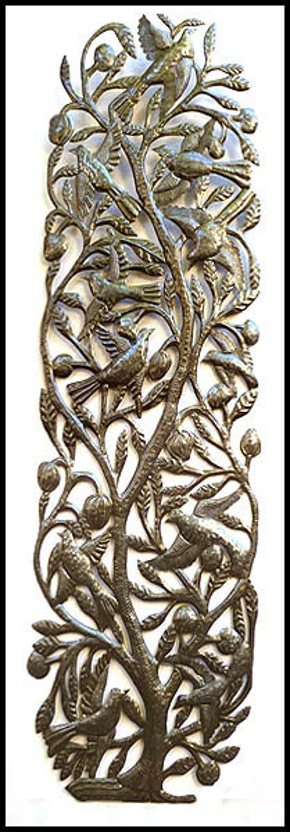 Metal Wall Art - Metal Wall Decor, Metal Art, Haitian Wall Art - Haitian Steel Drum Art, Tree Wall Art, Metal Birds, Tree Decor, 1680-48