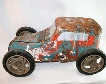 SALE - Folk Art Car made from vintage Oil Pan