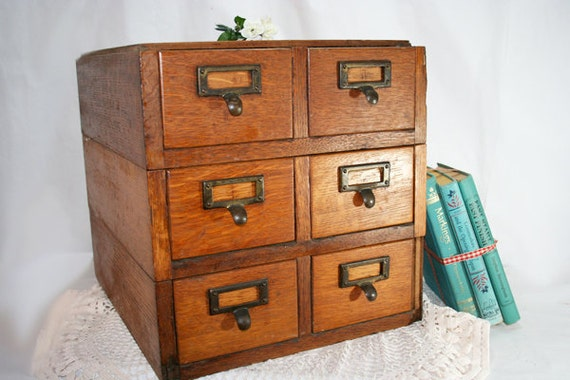 REDUCED IN PRICE - Vintage Stacking Card Catalog Cabinet