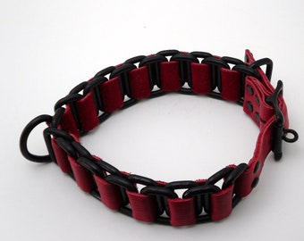 Collar - Black and red chain collar - Free US Shipping