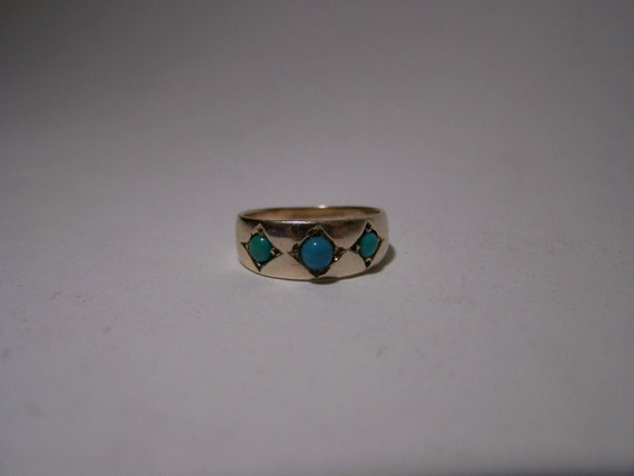 Vintage 9ct Gold Faux Turquoise Ring Unusual Small Size G 31/2 Resizing Available
