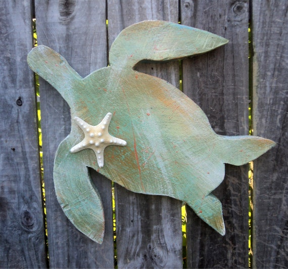 Beach-y, Chunky Wooden Sea Turtle, Rustic, Casual Cottage Decor
