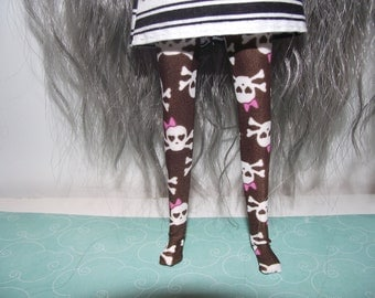 Brown with skull and pink bow tights leggins for Pullip doll
