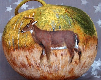 Whitetail Clan, fall scene, hand painted gourd, 9 inches tall, 9 1/2 inches diameter