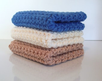 Crochet Wash Cloth, Dish Cloth, Set of 3 Cotton Washcloths