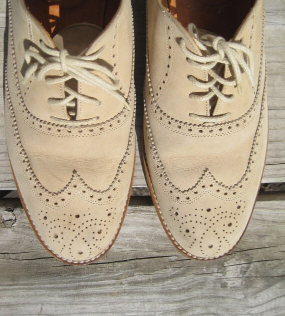 1960s Italian Creme Suede Brogue Wing Tip Oxfords Size 12 FREE SHIPPING