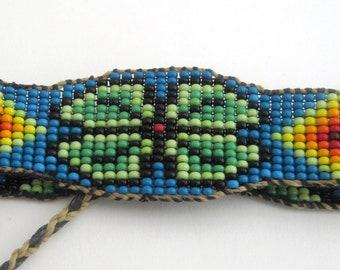 BOHO Beaded Bracelet, Flower Power Rainbow Cuff, Native American Inspired