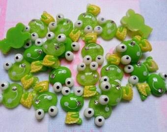 Resin Green Keroppi Gem Smile Flatback Scrapbooking DIY Embellishments 10 Pieces