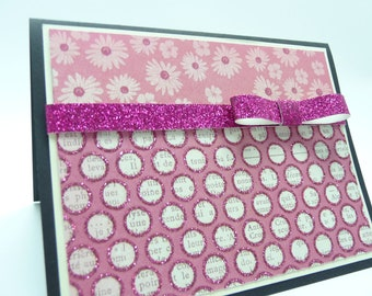 Bridal Shower Card, Wedding Card, Engagement Card, Congratulations Card, Pink Glitter Greeting Card, Handmade Card