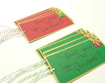Christmas Gift Tag Set of 8, Red and Green Don't Open Til Christmas Tags, Handmade Holiday Gift Tags