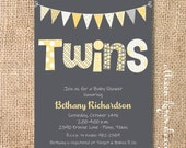 Bunting Banner Twin Baby Shower Invite Boy Girl Twins Grey and Lemon Twin Boys Twin Girls Funky Letters Yellow & Gray Printable Invitation