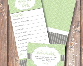 Printable Baby Shower Game - Florence Green & Gray Wishes for Baby - INSTANT DOWLOAD