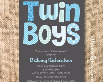 Funky Letters - Twin Boys - Printable Invitation