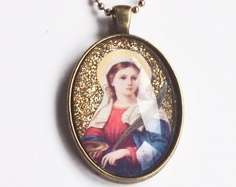 St. Lucy glass pendant in bronze colored setting for Confirmation, First Communion