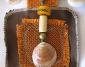 Nautical CHOKER NECKLACE from various Textile / fabrics leftovers. Brown, Orange, black plus Sea Shells & Beads