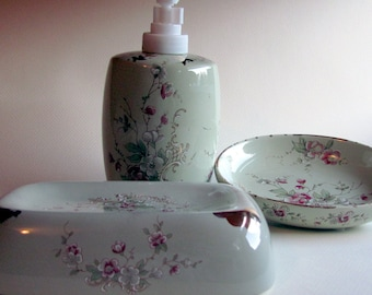 Sage green soap dishes and lotion or soap dispenser with pink oriental blossoms and genuine gold