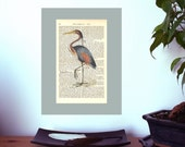 Bird No 2 Vintage Art Print on Antique 1896 Dictionary Book Page