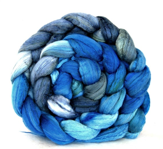 hand painted wool roving, merino silk 50 / 50 combed top