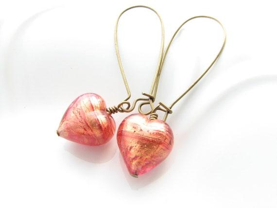 Heart dangle earrings orange red pink gold Venetian glass