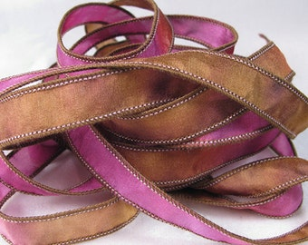 Hand Dyed Silk Ribbons - Hand Painted Jewelry Bracelet Wrap - Quintessence - Raspberry Chocolate