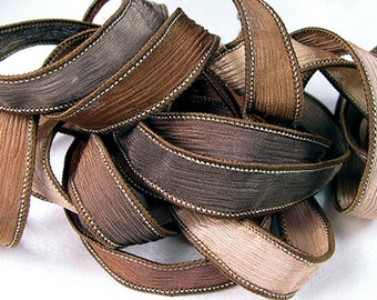 Hand Dyed Silk Ribbon - Crinkle -  Fairy Ribbon - Brown Chocolate - Quintessence - Timberland