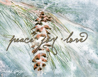 Peace Joy Love, Watercolor Christmas Cards, Greeting Cards, Winter Pine, 5x7