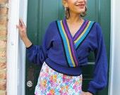 Sweater Striped 1980s 80s Purple Slouchy S M