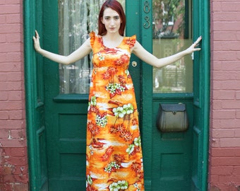 Dress Gown 1970s 70s HAWAIIAN Orange Lime Green Ruffled Maxi S Small M Medium