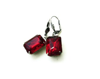 Vintage Glass Jewel Earrings Red Ruby Scarlet - REGAL RED - estate style - glamour party - Ltd Ed - wedding Etsy uk