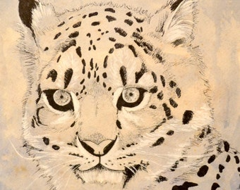 Original Snow Leopard Mixed Media Art 11x11 on tea-stained paper