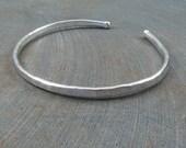 Mens silver cuff bracelet manlet rugged elegance minimalist modern simple