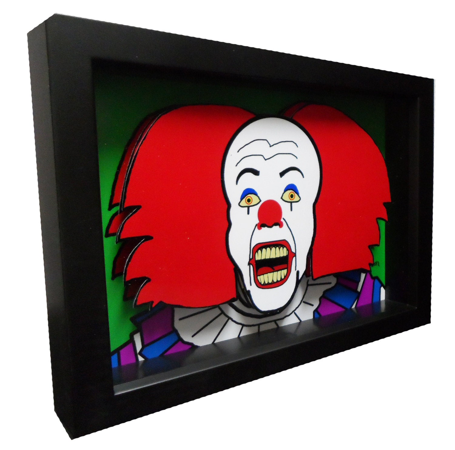 stephen king movie art it pennywise clown 3d art pop horror. Black Bedroom Furniture Sets. Home Design Ideas