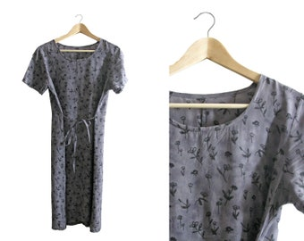 Grey Floral Long Dress - short sleeved - 1990