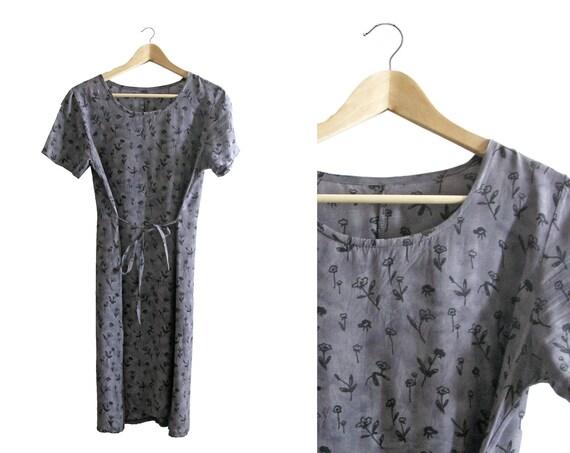 Grey Floral Long Dress - short sleeved - 1990