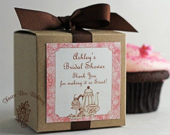 Tea and Sweets...One Dozen Personalized Cupcake Mix Bridal Shower Favors