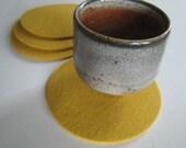 Lemon Yellow Coaster Set, Yellow Drink Coasters, Yellow Beverage Coasters